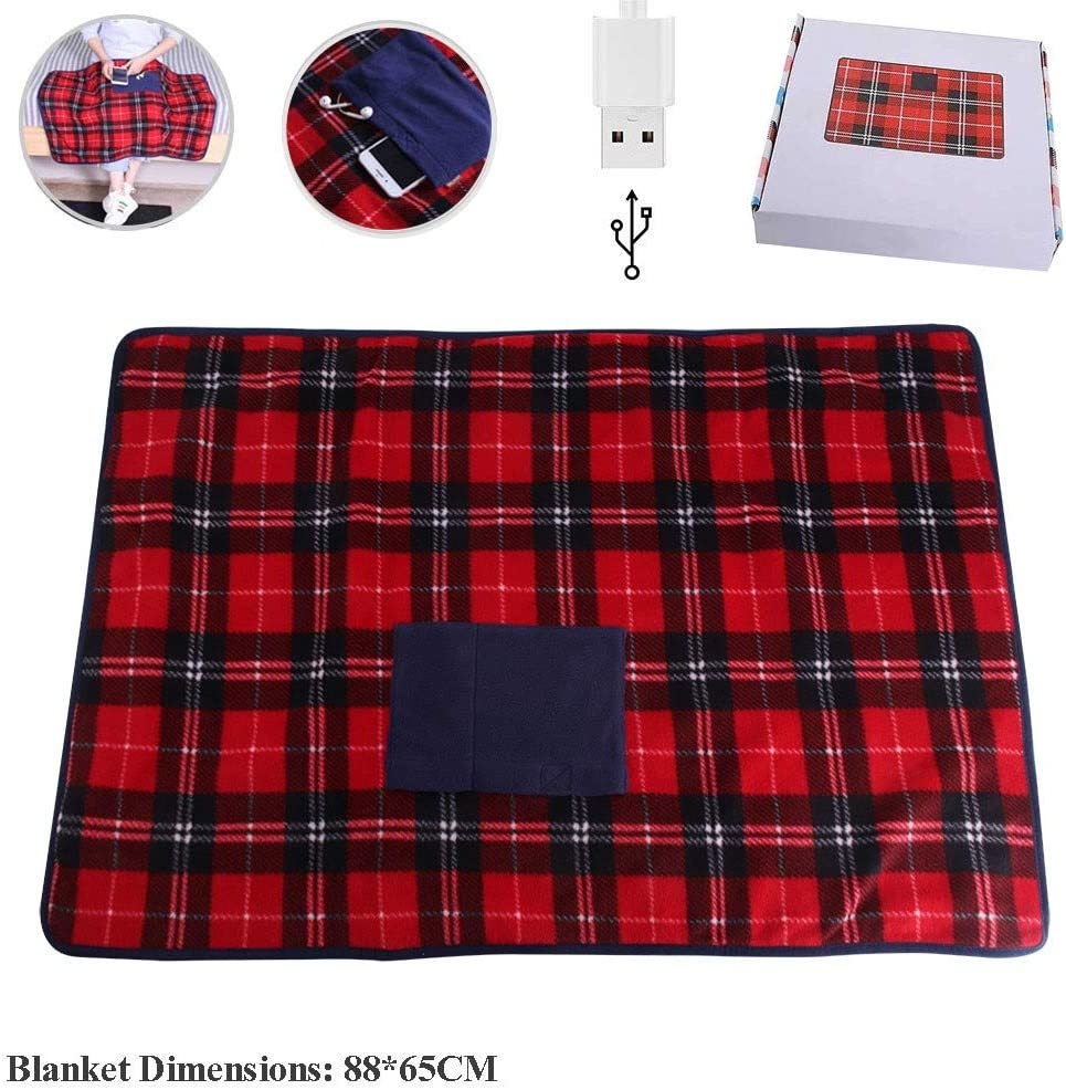 Portable USB Lap Heated Throw Blanket, Winter Warming Heating Blanket Throw Electric USB for Car Home Office Outdoor Removable Washing, Battery Operated