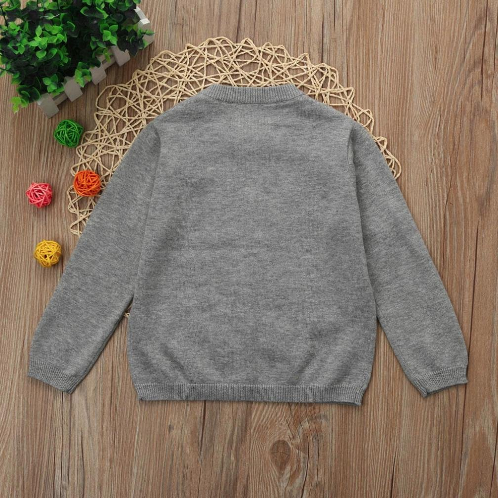 Gray, 0-6 Months Exteren Toddler Kid Boys Girls Clothes Knitted Colorful Solid Sweater Cardigan Coat Tops