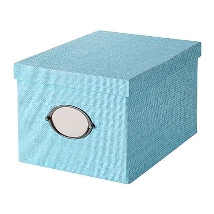 Ikea Caja con tapa Kvarnvik 25x35x20 cm azul