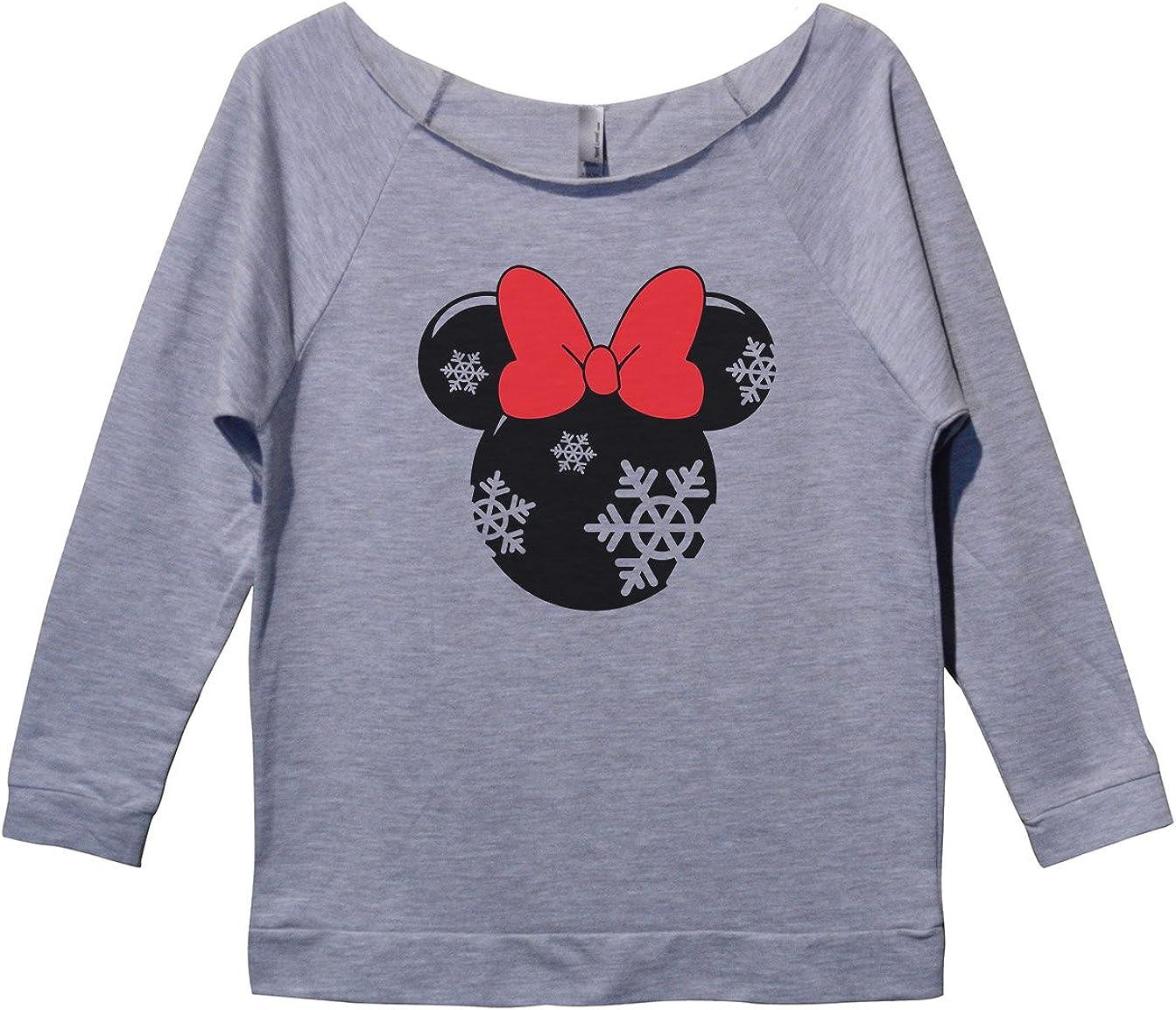 "Womens 3/4 Sleeve ""Minnie Mouse"" Holiday Disney Christmas Sweatshirt"
