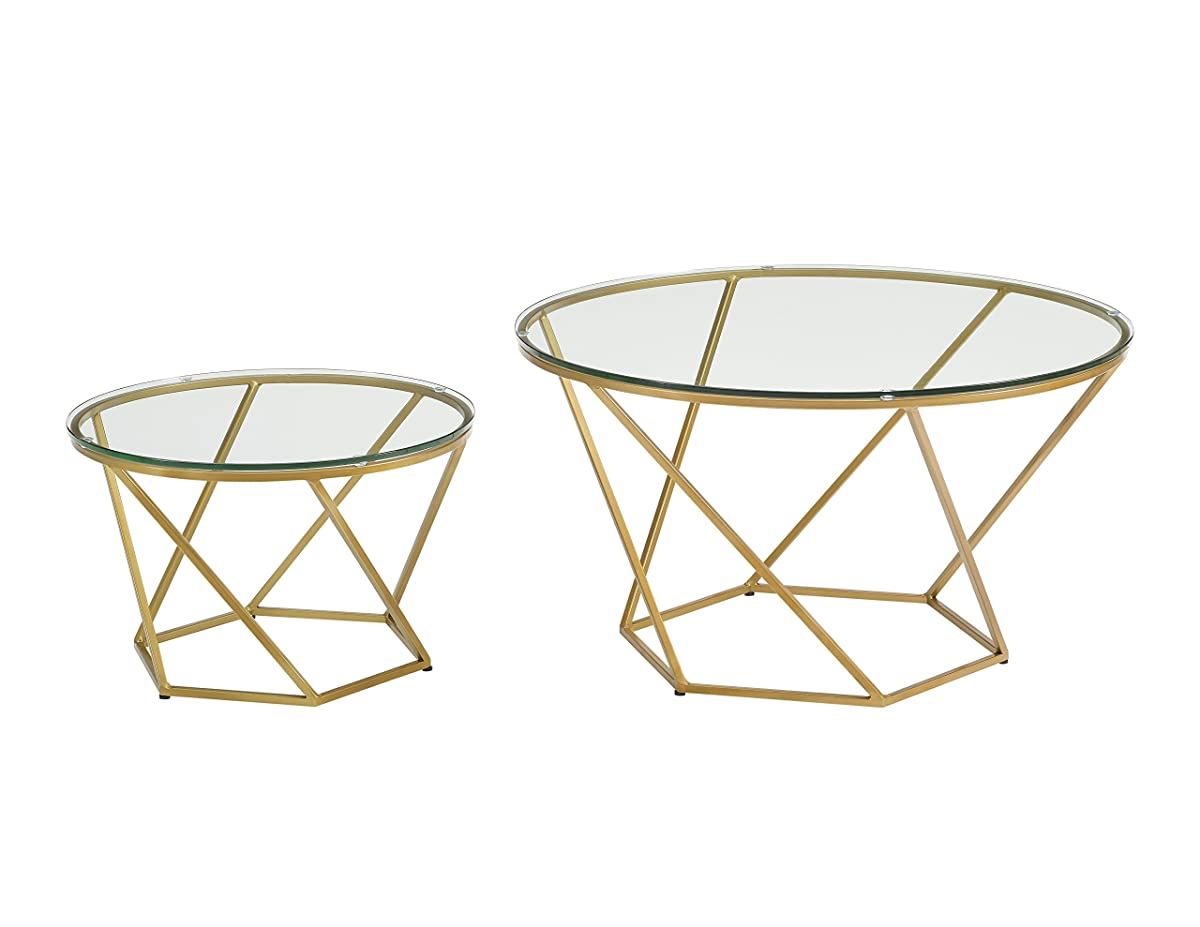 WE Furniture Geometric Glass Nesting Coffee Tables - Gold, Glass/Gold