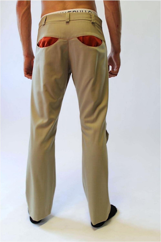 Bruno IERULLO Designer 100/% Italian Wool Comfortable Mens Pants Big