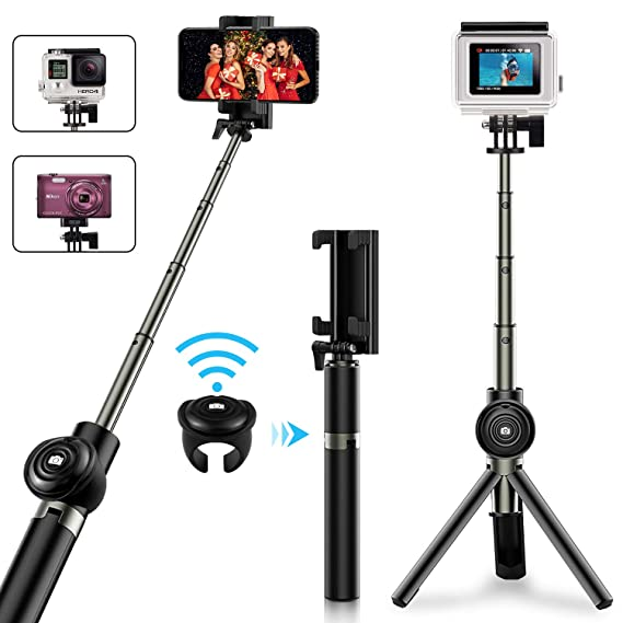 san francisco 25db7 6ecd5 Selfie Stick Tripod, Vproof Extendable Bluetooth Selfie Stick with  Detachable Wireless Remote, Compact Monopod for iPhone Xs Max/XR/XS/X/7  Plus/6S ...