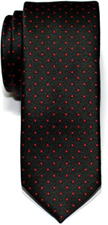DQT Woven Pin Dot Dotted Black Formal Casual Mens Skinny Tie