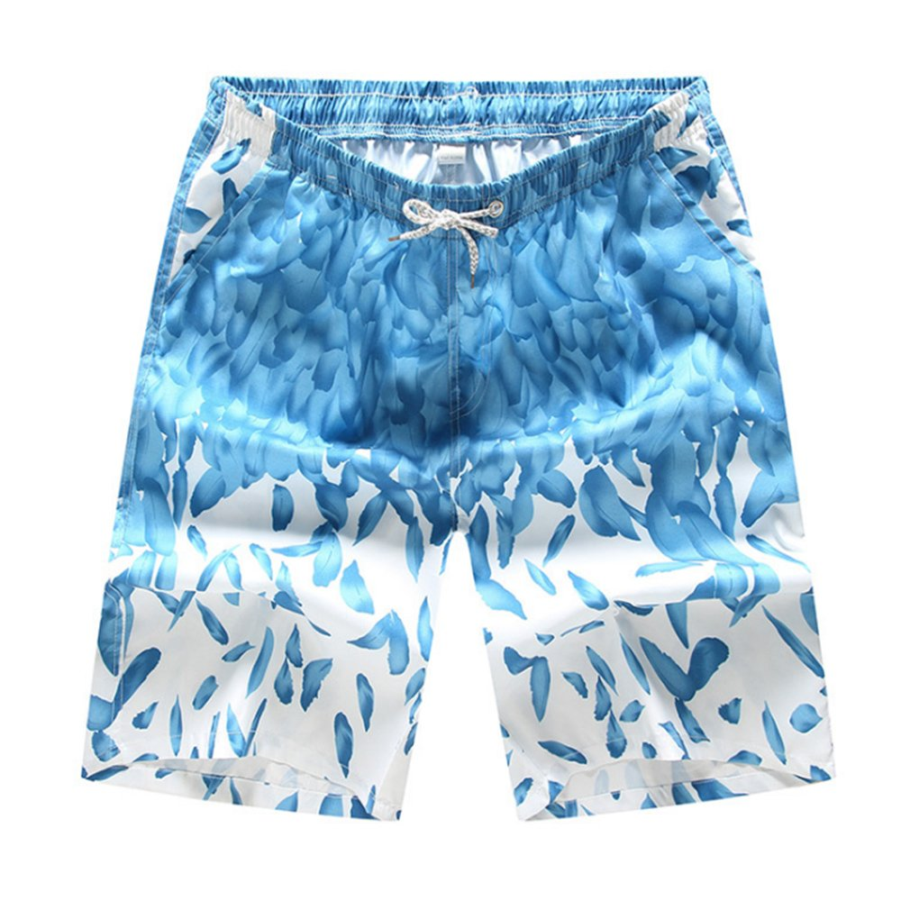 Aszune Printed Man's Swim Trunks, Quick Dry Beach Shorts Light Blue Trunks(3XL)