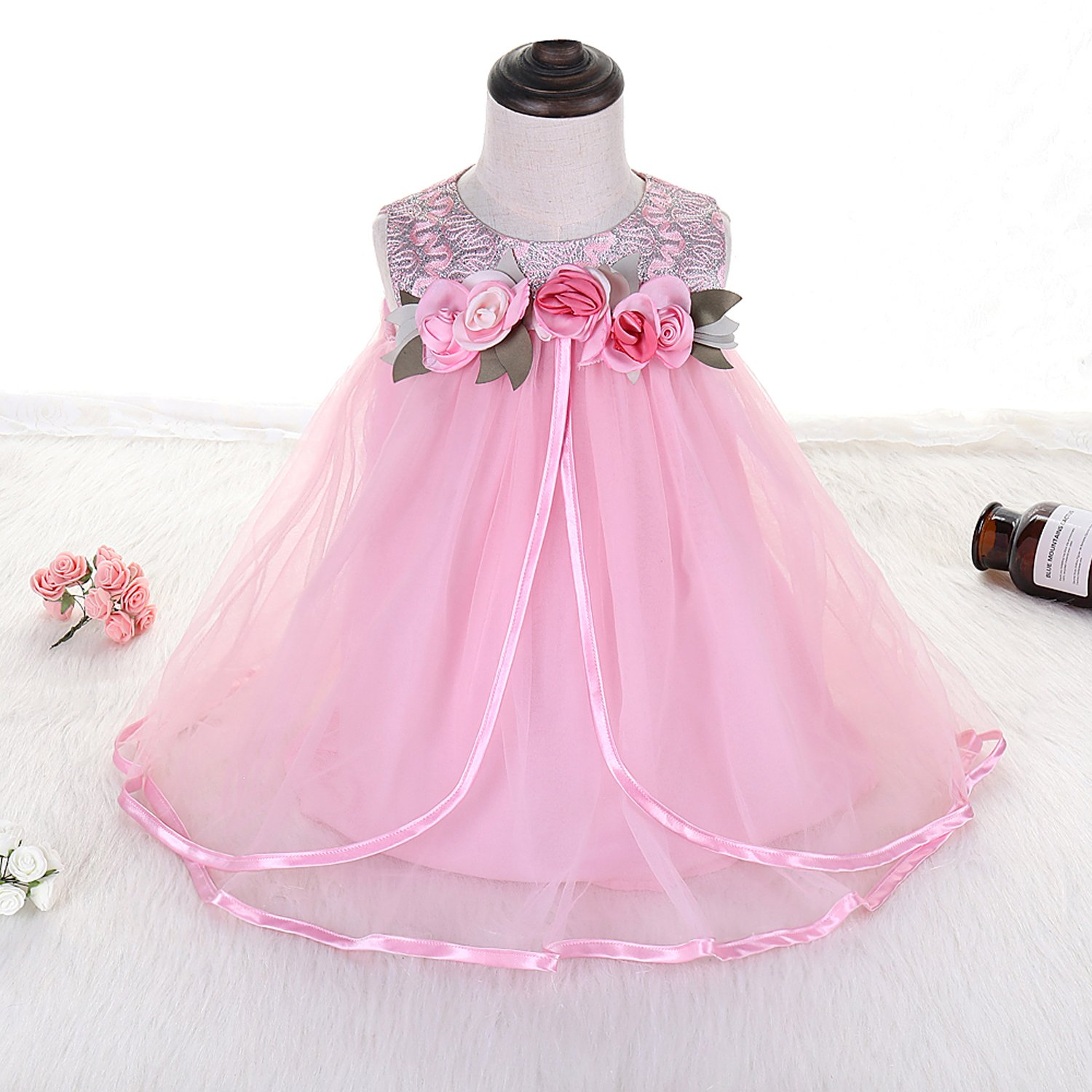 b5389c342fc4 Amazon.com: Baby Girl Wedding Dresses Pink Embroidery Lace Tutu Dress with  Flower and Leaves Tulle Party Dress for Infant Girl 4-5T: Clothing