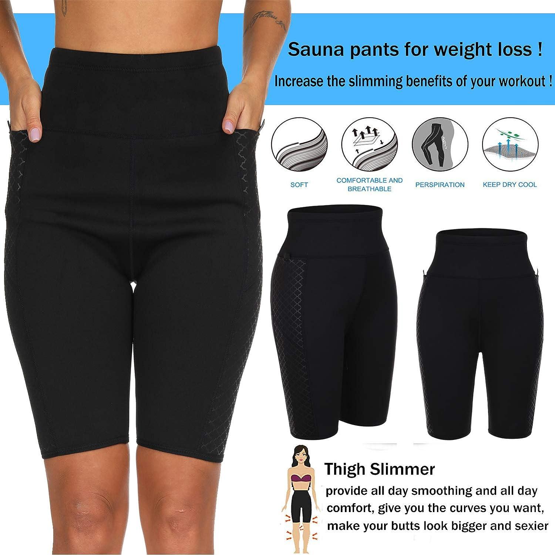 HEXIN Womens Waist Trainer Slimming Hot Neoprene Sweat Pants Weight Loss Sauna Suits S-3XL