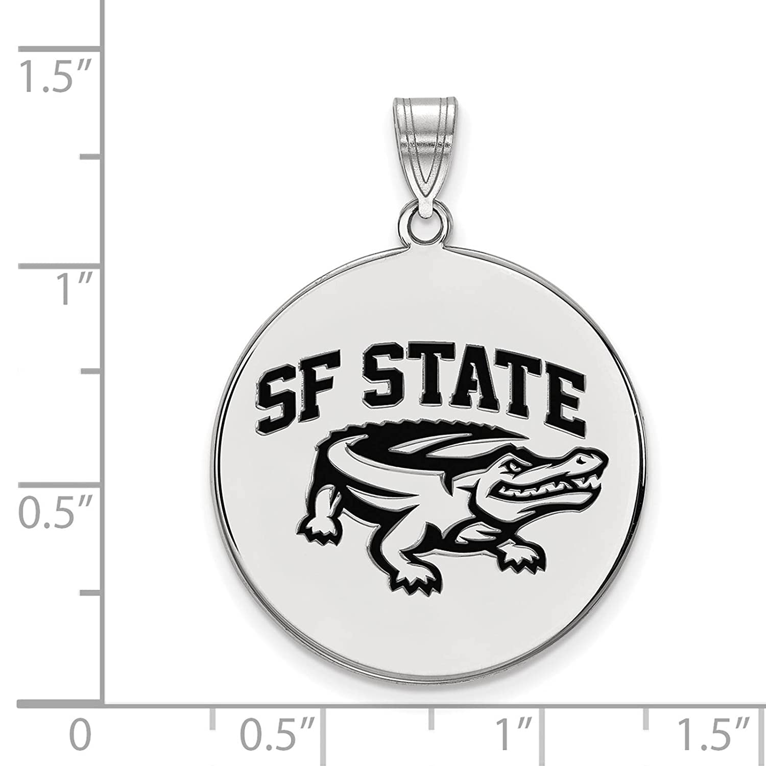 925 Sterling Silver Rhodium-plated Laser-cut San Francisco State University XL Enameled Disc Pendant