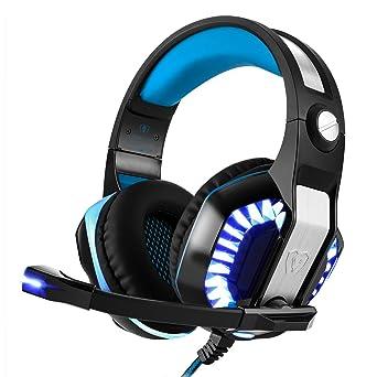Bovon Auriculares Gaming PC Cascos de Juego USB 3.5mm Jack con Micrófono Control de Volumen