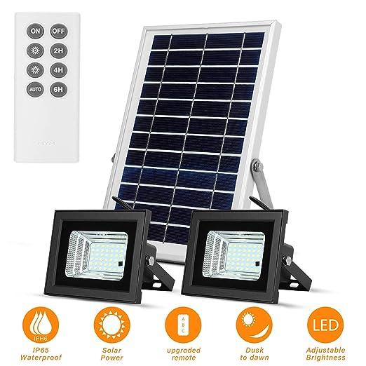 Luces Solares de Inundación con Paneles Solares de 19x 29cm 42 LED Impermeables para Iluminación Solar al Aire Libre para Garaje, Piscina, Calle, ...