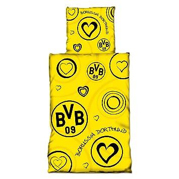Borussia Dortmund Bvb Bettwäsche Mit Herzen Baumwolle Schwarzgelb