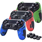 Skin Compatible for PS4 Controller Pandaren Soft Silicone Thicker Half Skin Cover Grip for PS4 /SLIM /PRO Controller Set (Skin X 3 + Thumb Grip X 6)(Camouflage Red,Blue,Green)
