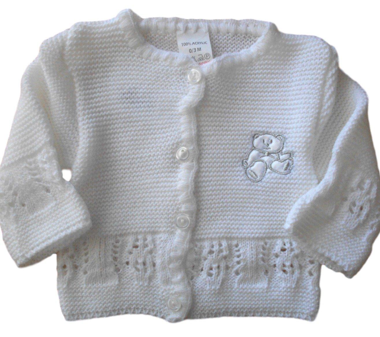 3-6 months Baby Unisex Boys Girls gorgeous White Teddy Bear Knitted Cardigan