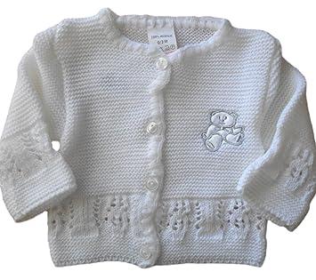 91126a188 Newborn - Baby Unisex Boys Girls gorgeous White Teddy Bear Knitted Cardigan