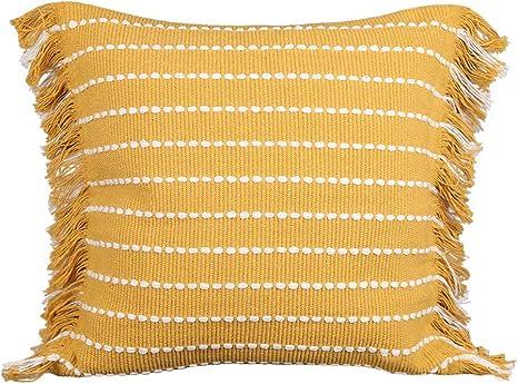 Beautiful Bohemian Handmade Cotton Pillow Cover with Tassels Pillow Cover Lumbar Pillow Cover 18X18 Pillow Cover Sofa Pillow Cushion Couch