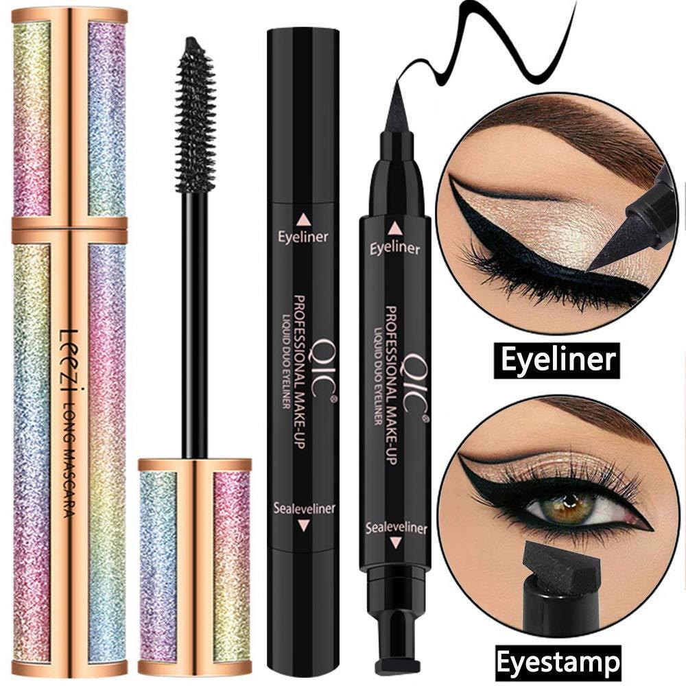 4D Silk Fiber Lash Mascara Black Waterproof (with Eyeliner Stamp) - Voluminous & Lengthening, Long Lasting, Hypoallergenic Formula, Smudge-Proof Eyelashes