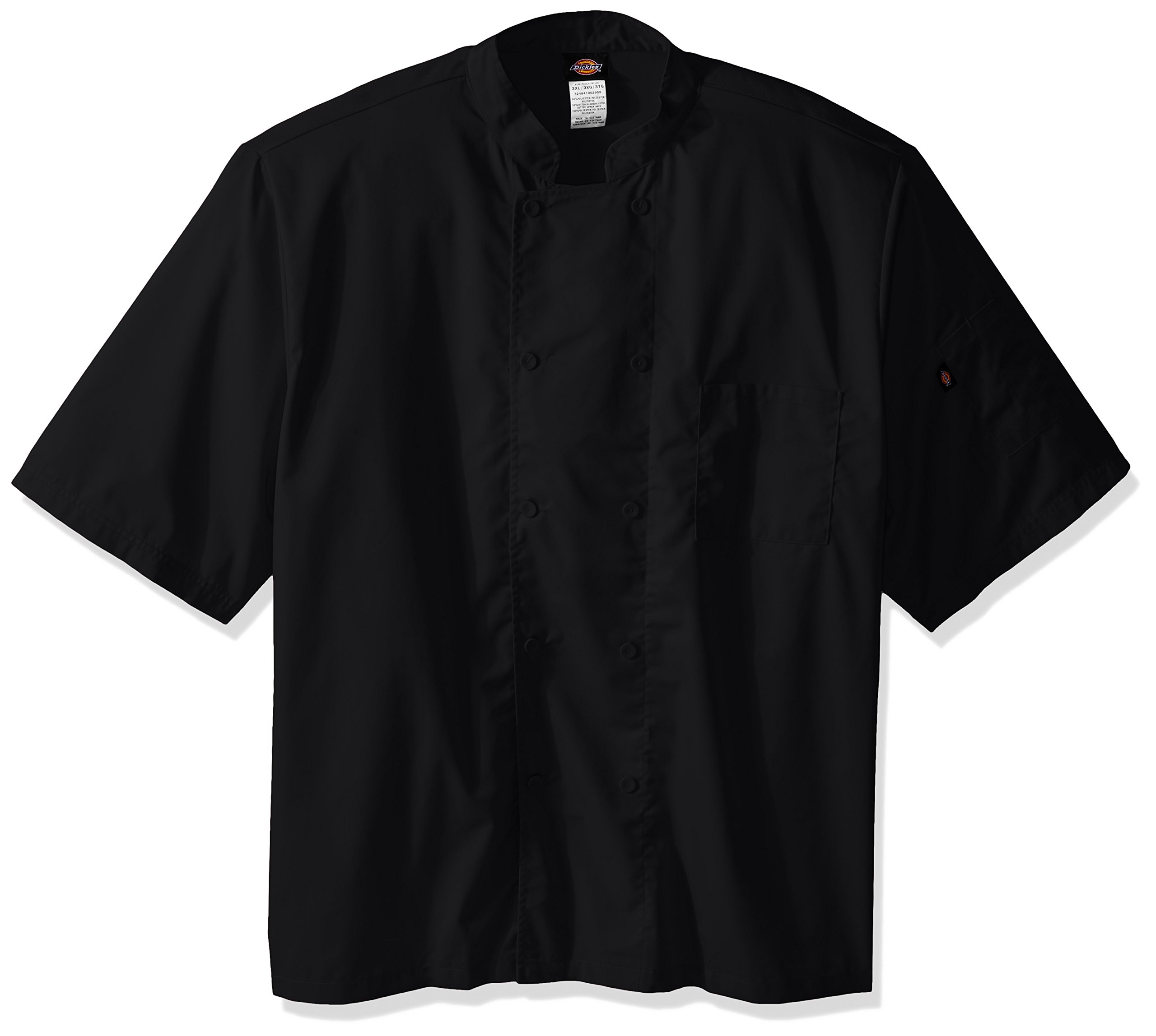 Dickies Chef Cool Breeze Short-Sleeve Coat, Black, 4X-Large