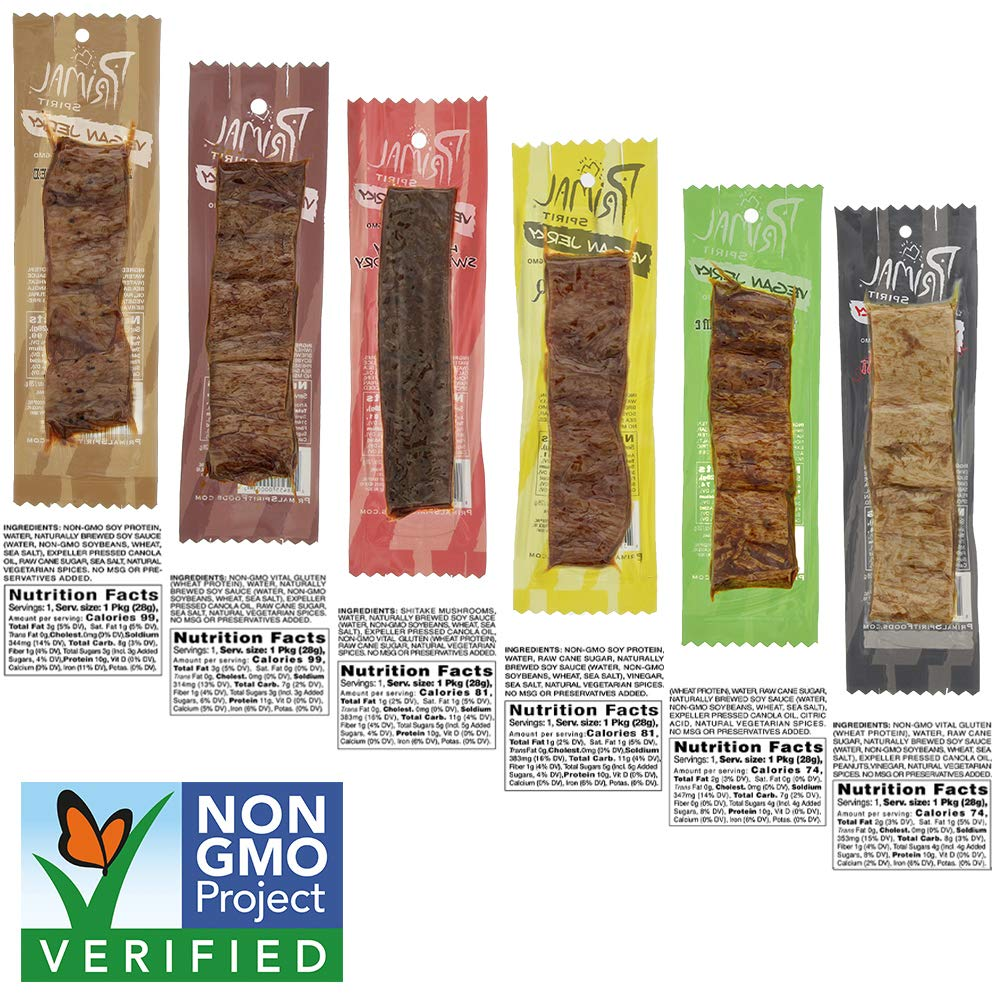 Primal Spirit Vegan Jerky - Our Sampler Pack, 10g. Plant Based Protein, Certified Non-GMO (''The Classics'' Thai Peanut, Mesquite Lime, Teriyaki, Hot & Spicy, Hickory Smoked, & Texas BBQ, 24-Pack, 1 oz) by Primal Spirit Foods (Image #2)