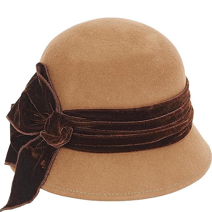 Women's Vintage Hats | Old Fashioned Hats | Retro Hats Adora Hats Velvet Bow Wool Felt Cloche $45.99 AT vintagedancer.com