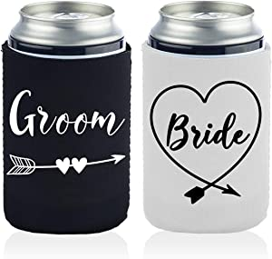 2 Funny Bride and Groom Can Coolers Gifts for Men And Women-12 OZ Collapsible Neoprene Can Beer Bottle Beverage Cooler Cover Insulator Holder Sleeve for Cola Beer Soda Wedding Gifts
