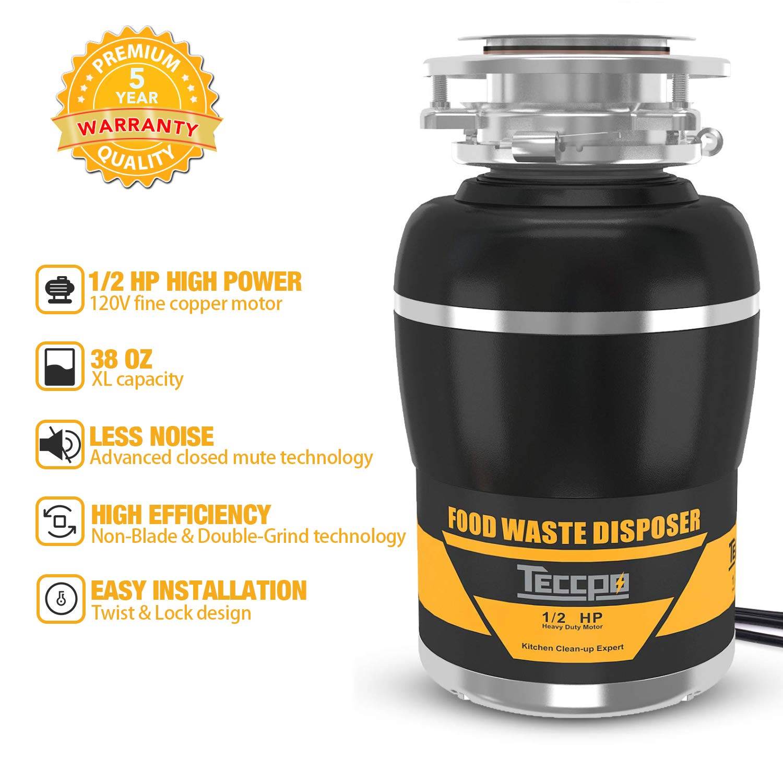 Eliminación de basura, TECCPO 1/2 HP desechables de basura, 38 oz ...