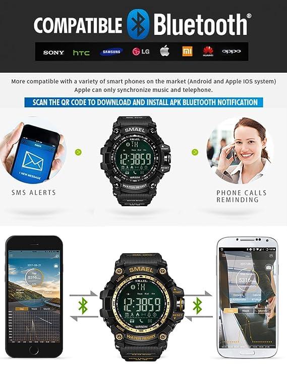 Relojes inteligentes verdes militares reloj pulsera digital Hombres Gear deporte reloj inteligente: Amazon.es: Relojes