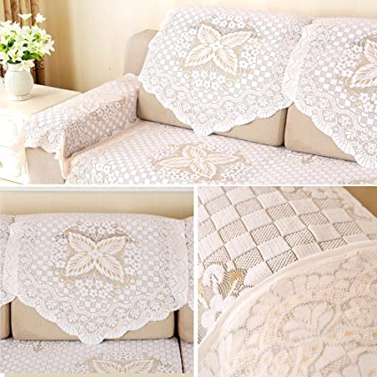 Yazi Cotton Lace Sofa Throw Cover Loveseat Armchair Slipcovers Furniture  Protector Sofa Back Covers Lace Table