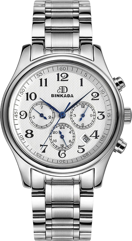BINKADA自動機械ステンレスStellバンドホワイトダイヤルメンズ腕時計# 700101 – 1 B01DZJKUT8