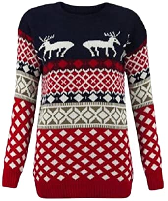 d5d01c56a0fa Missmister Womens Ladies Mens Unisex Knit Xmas Christmas Jumper Novelty  Santa Reindeer Bambi Rudolph Sweater Knitwear Pullover Top Plus Sizes UK  8-30: ...