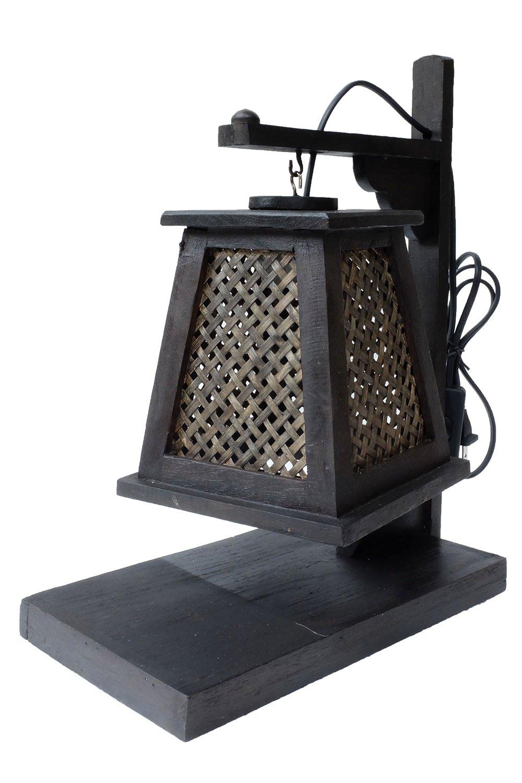 Thai Vintage Handmade Asian Oriental Handcraft Lanna Bamboo Weave Bedside Teak Table Light. (W6''xL11''xH14'', Teak Lamp)