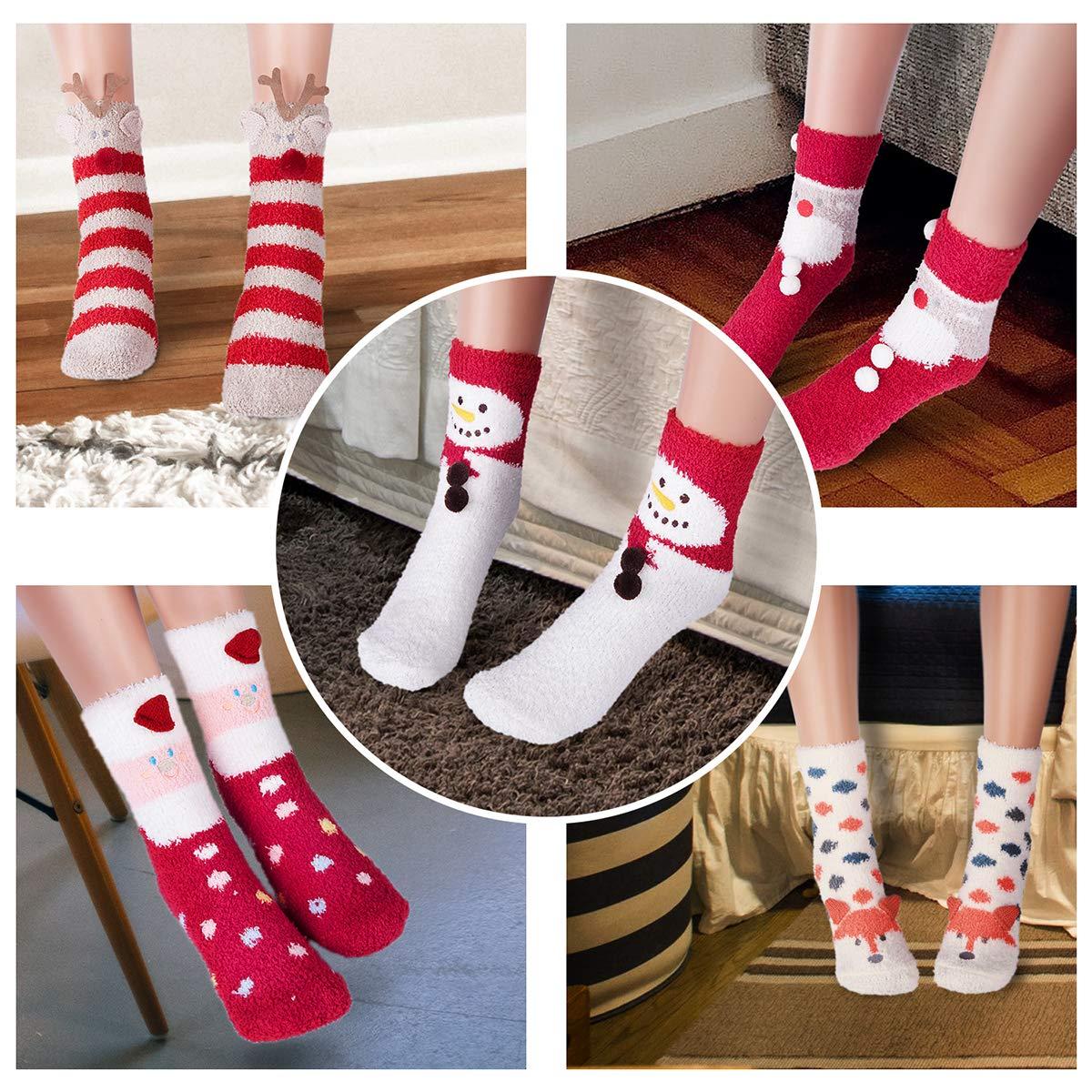 soffici e graziosi calzini natalizi caldi a pantofola per la casa LINXIN 5 paia di calzini da donna e ragazza calzini confortevoli con motivo animali