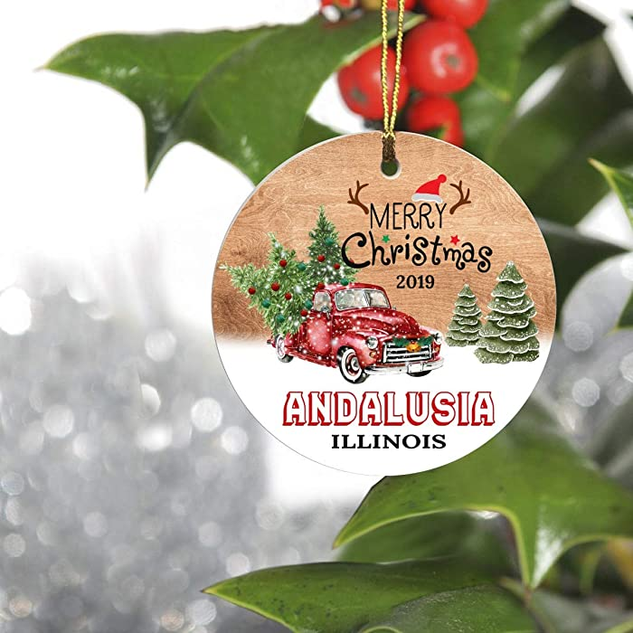 """Merry Christmas Tree Decorations Ornaments 2019 - Ornament Hometown Andalusia Illinois IL State - Keepsake Gift Ideas Ornament Ceramic 3"""" for Family, Friend and Housewarming"""