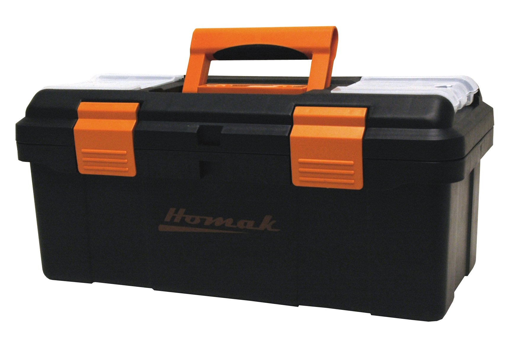 Homak 16-Inch Plastic Tool Box with Tray and Dividers, Black, BK00116004