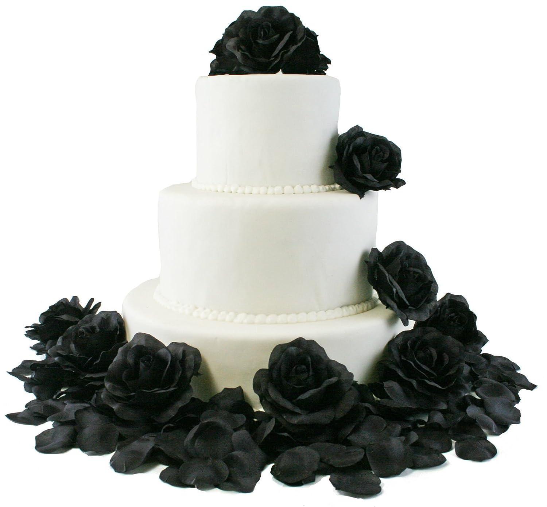 Amazon Black Silk Rose Cake Flowers Reception Decoration