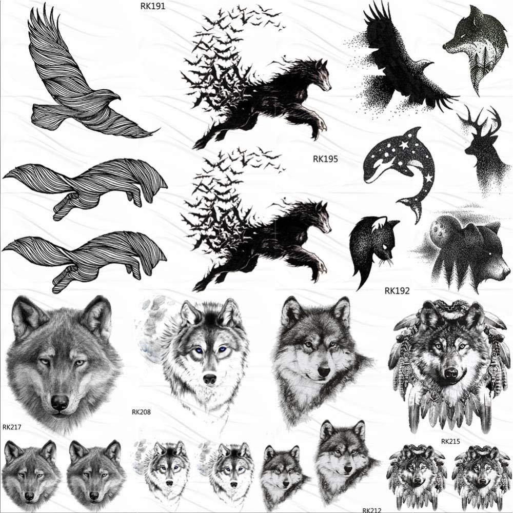 Tatuajes Temporales Niños Lol Águila Pájaro Lobo Tatuajes ...