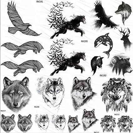 KAMRL Tatuaje Falso Tatuaje Águila Pájaro Lobo Tatuajes Temporales ...
