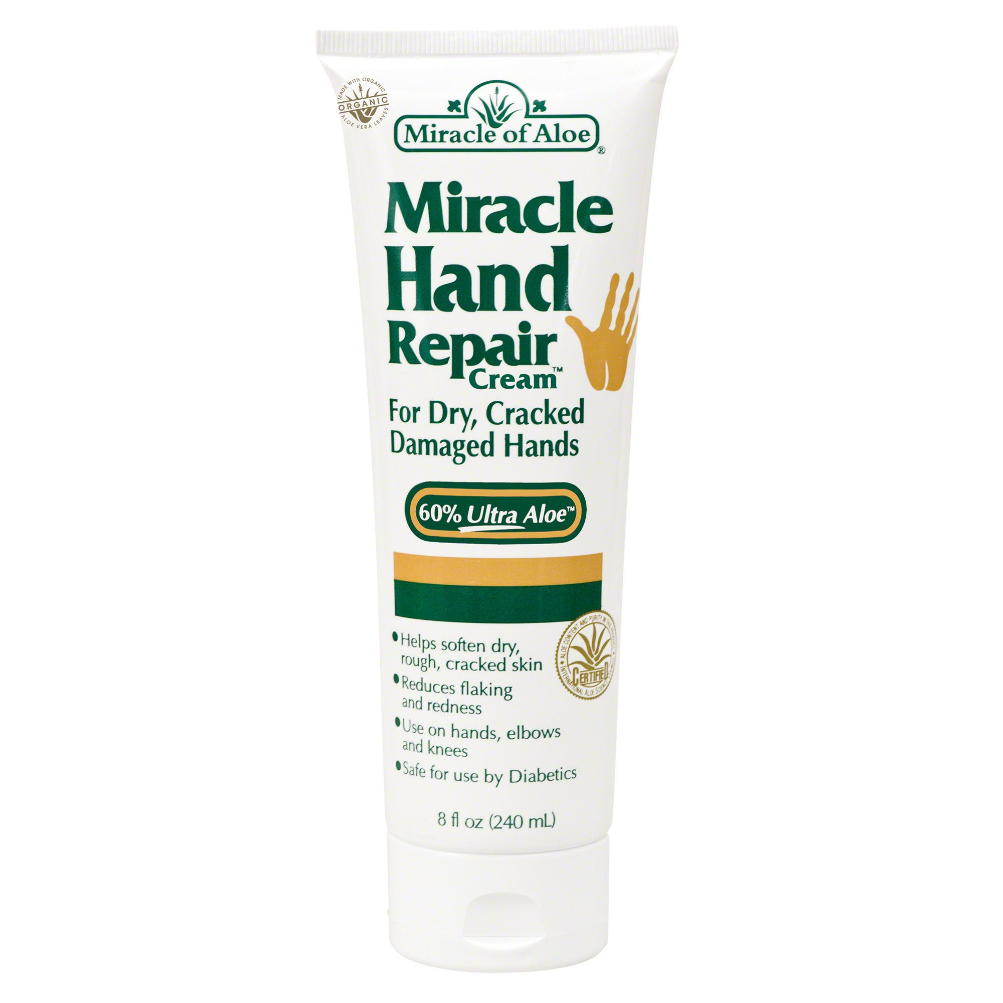 Miracle Hand Repair Cream 8 ounce tube with 60% UltraAloe by Miracle of Aloe