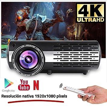 Seelumen 6500 Lúmenes Proyector Full HD 1080P (1920 x 1080) Proyector Cine en Casa con Corrección Digital, Android 6.0, AC3, Compatible con Netflix, ...