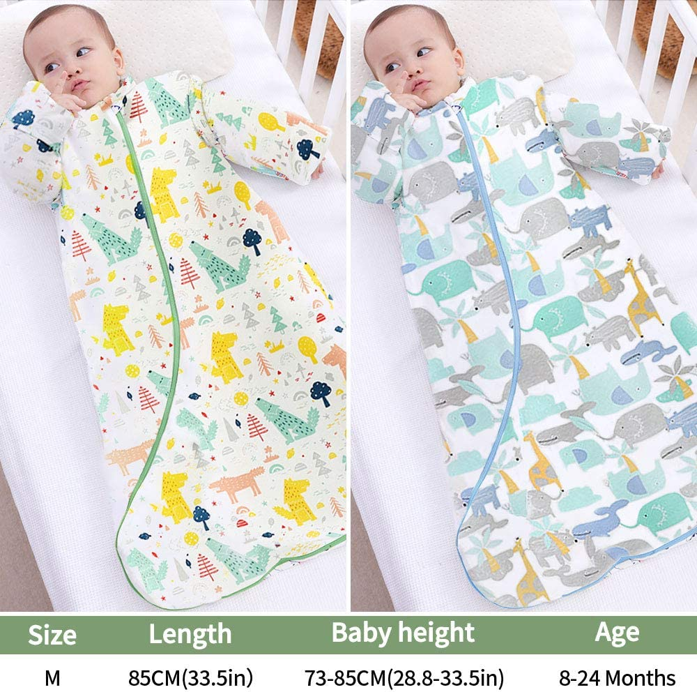 Plartree Baby Sleeping Bag with Detachable Long Sleeves (Rainforest) 73-85CM 2.5 Tog 100/% Cotton Winter Kids Sleeping Sack for Infant Toddler 8-24 Months