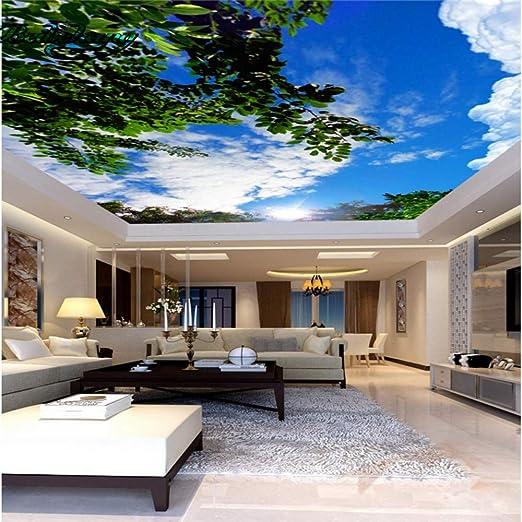 Zhcmy 3D Cielo Azul Nubes Blancas Techo Verde Deja Techos Pintura Mural Decoración Mural, 400 * 280 Cm: Amazon.es: Hogar