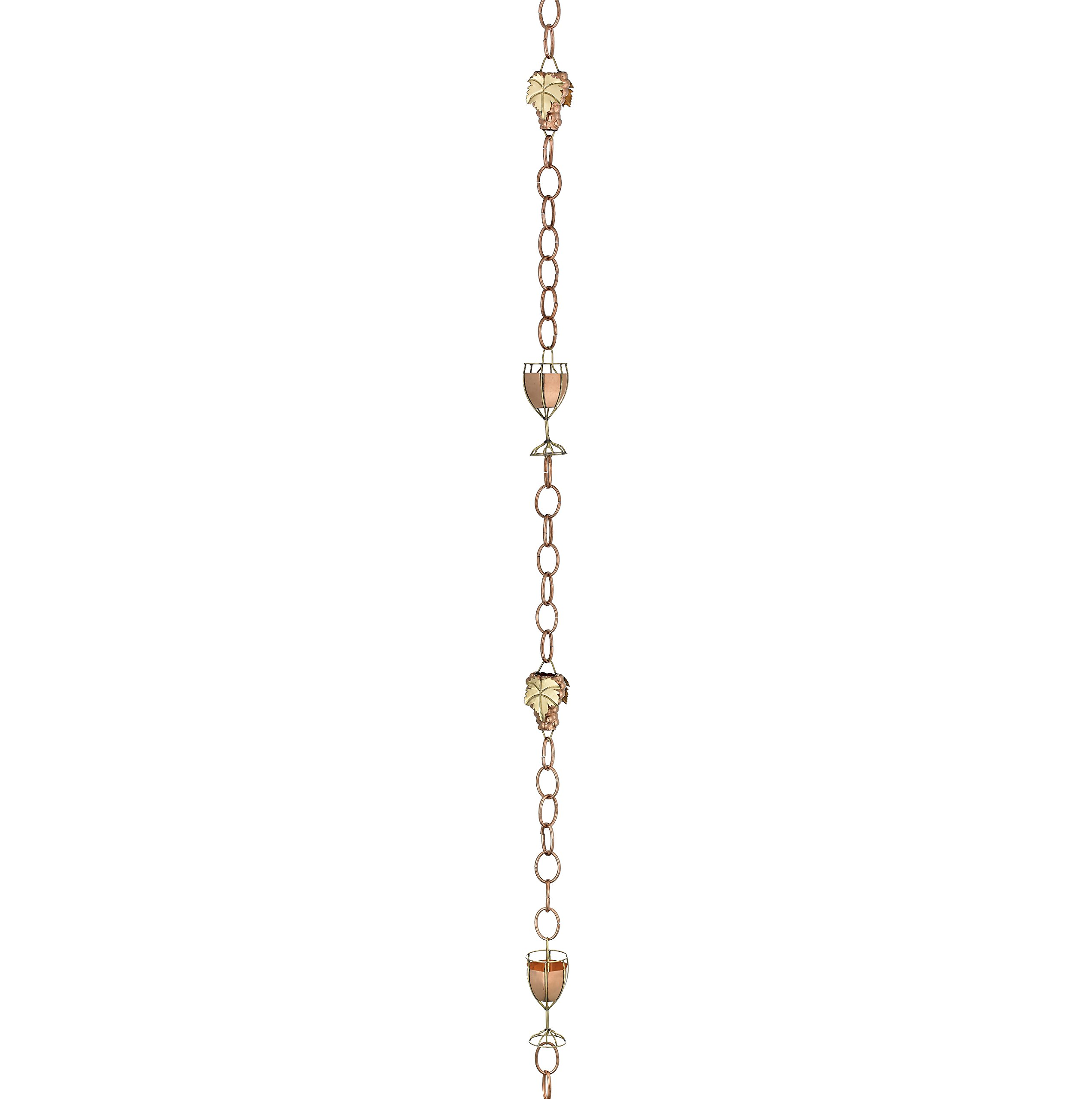Good Directions Wine and Glasses Pure Copper 8.5-Foot Rain Chain by Good Directions