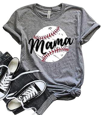042b389a Amazon.com: LONBANSTR Women Baseball Mom Mama Letter Print T Shirt Short  Sleeve Tops Tee: Clothing