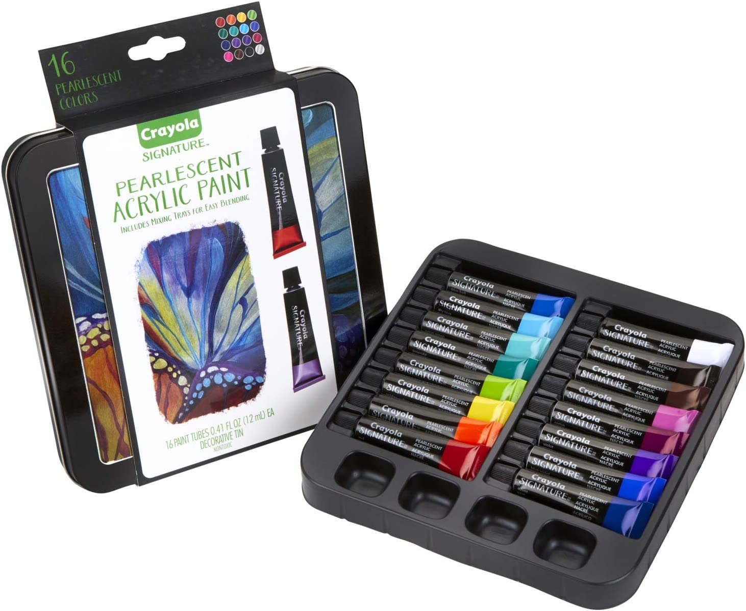 Crayola Pearlescent Acrylic Paints with Decorative Storage Tin, Gift for Adults, 16Count