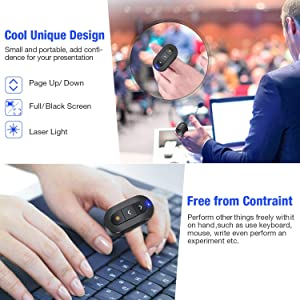 DinoFire Wireless Presenter Finger Ring USB Powerpoint Presentation Clicker Rechargeable RF 2.4 GHz Presentation Remote Control Laser Pointer Slide Advancer Support Mac (Color: Black)
