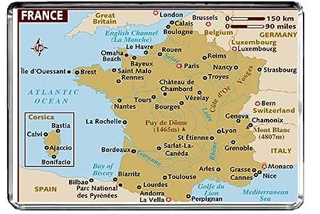 Vezelay France Map.Cfl M070 Map Of France Fridge Magnet France Travel Refrigerator