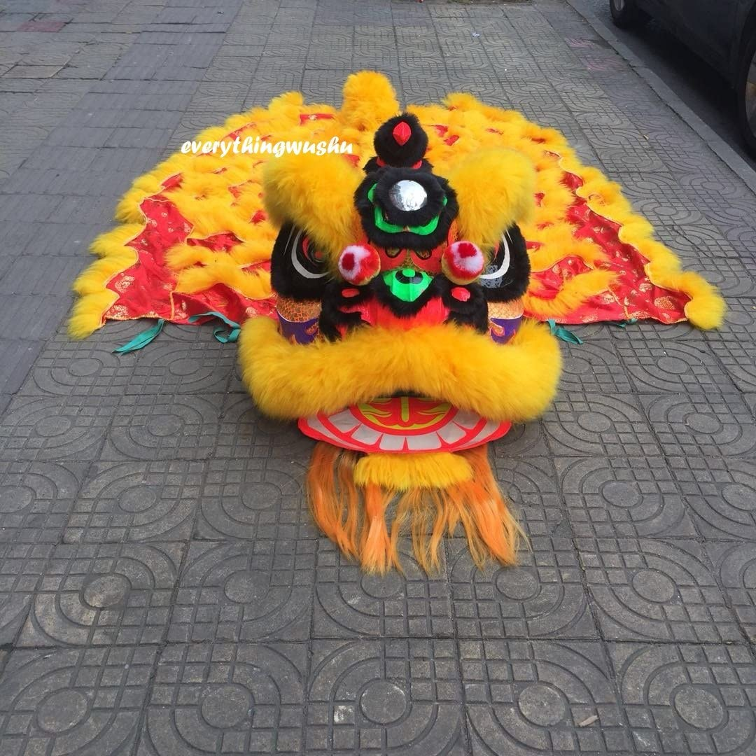 Dance mascot Costume wool Southern Yellow Lion Chinese Folk art For two adult