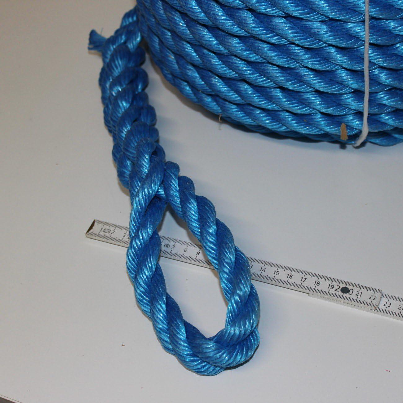 verrottungsbest/ändig Tau Extrem robustes Seil 20 mm Schiffsleine aus lau L/änge 40 m Polypropylen Hochbelastbares Universalseil Nylonseil gedreht aus PP sehr haltbar Bootsleine 40 Meter lang mit Schlaufe Schnur Rei/ßkraft 5200 kg