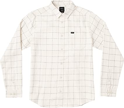 RVCA Mens ARC Long Sleeve Woven Button UP Shirt, Silver Bleach, M: Amazon.es: Ropa y accesorios