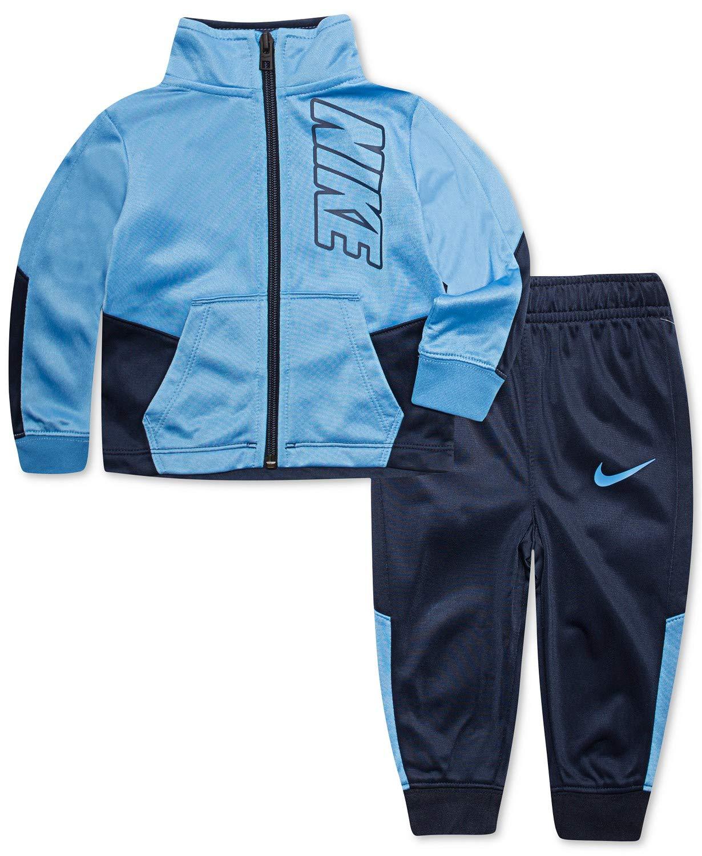 Nike Boy`sTherma Dri-Fit 2 Piece Tracksuit (Obsidian(8ME201-695)/Bluebird, 5)