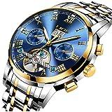 LIGE Impermeable Moda Hombres Reloj mecanico automatico Acero Inoxidable Relojes Azul Dorado Reloj de Pulsera